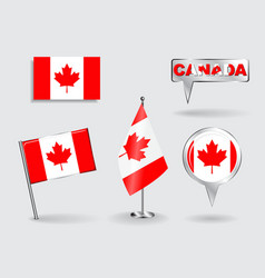 Set of canadian pin icon and map pointer flags vector