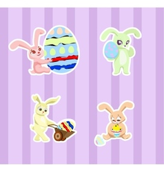 Stickers with rabbits vector