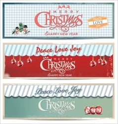 Merry christmas retro banner set vector