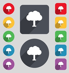 Tree forest icon sign a set of 12 colored buttons vector