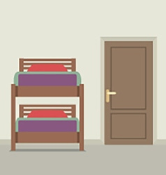 Bunk bed with a closed door vector