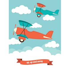 Planes in the clouds vector