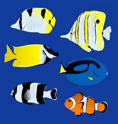 Aquarium great tropical fish collection vector