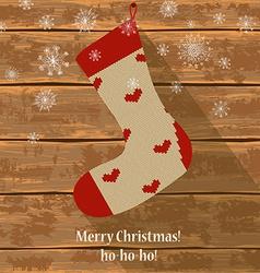 Knitted christmas sock vector