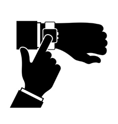 Silhouette of arm with a smartwatch vector