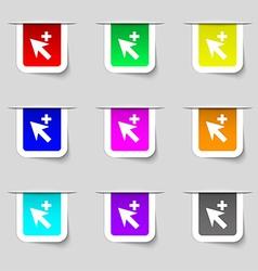 Cursor arrow plus add icon sign set of vector