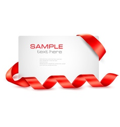 Card with red ribbons vector