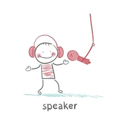 Speaker in headphones speaks into a microphone vector