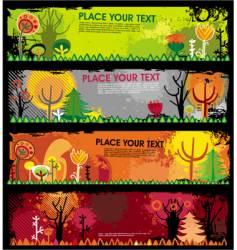 Autumn grunge banners vector