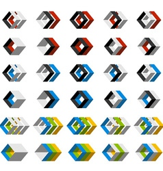 Abstract 3d square icons vector