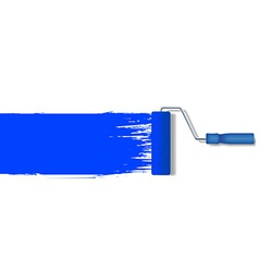Realistic paint roller painting a blue line vector
