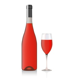 Bottle and glass with rose wine vector