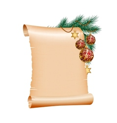 Christmas blank scroll paper on white background vector