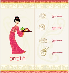 Template of traditional japanese food with asian vector