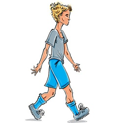 Full-length drawing of a caucasian fair-haired vector