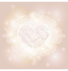 Calligraphic heart on magical lights background vector