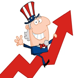 Uncle sam riding a growth arrow vector