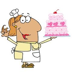 Hispanic cartoon cake baker woman vector
