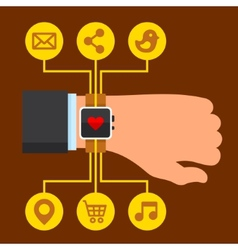 Infographics arm with a smartwatch in flat design vector