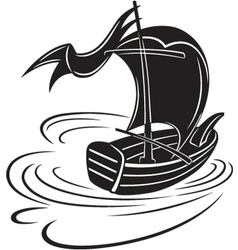 Boat with a sail vector