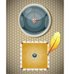 Retro background with clocks and feather vector