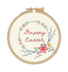 Wooden hoop with embroidery for easter vector