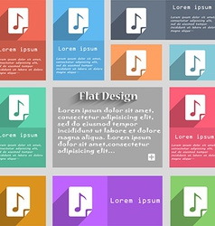 Audio mp3 fileicon sign set of multicolored vector
