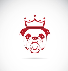 Image of bulldog head wearing a crown vector