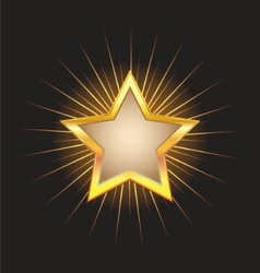 Gold star frame with beams vector