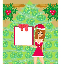 Pretty girl in christmas costume vector