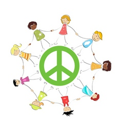 Peace sign with kids vector