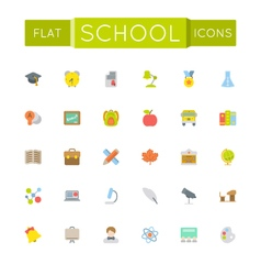 Flat school icons vector
