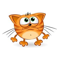Sad cartoon cat vector