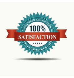 100 satisfaction guaranteed retro label with red vector