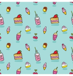 Cute seamless pattern with ice cream soda cake vector