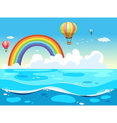 Ocean and rainbow vector