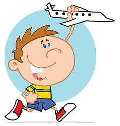 Happy little boy playing with airplane vector