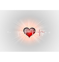 Medical symbol ekg red heart center vector