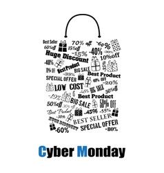 Cyber monday shopping bag vector