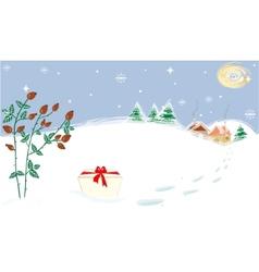 Winter landscape stars moon briar present vector