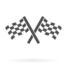 Crossed finish flags icon vector