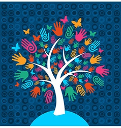 Diversity tree hands background vector