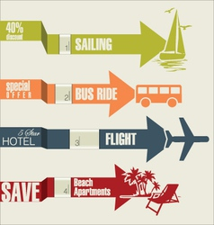 Travel infographics options banner with arrows vector