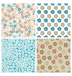 Set of seamless flower patterns vector