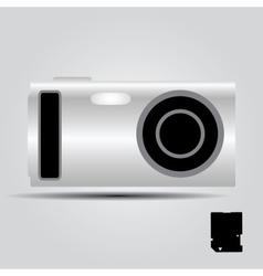 Silver digital compact camera eps10 vector