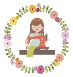 Girl with sewing machine and floral wreath vector
