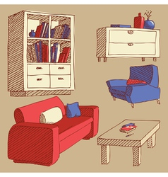 Sketches of furniture vector