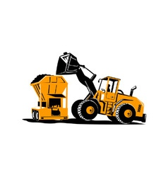 Front end loader digger excavator retro vector