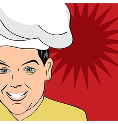 Pop art man in cooker uniform vector
