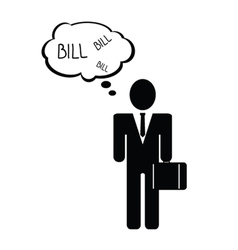 Bill with man icon vector